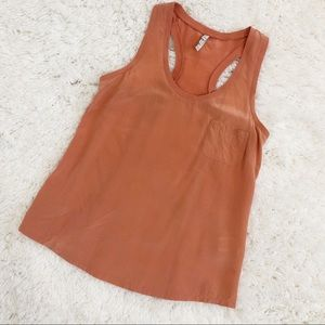 ❄️ Joie Silk Coral Racerback Pocket Tank Top